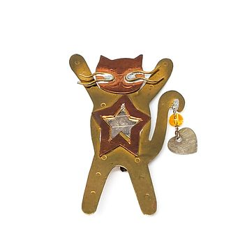 Vintage estate Cat  stars and hearts Artisan copper and gold mixed media brooch