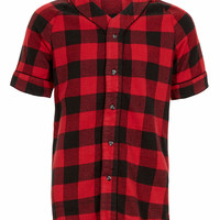 Red Buffalo Check Baseball short sleeve Shirt - TOPMAN USA