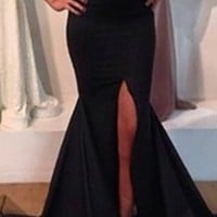 Black Strapless Sweetheart Neck Slit Front Fishtail Mermaid Bodycon Dress