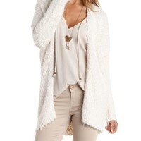Ivory Oversized Fuzzy Cardigan Sweater by Charlotte Russe