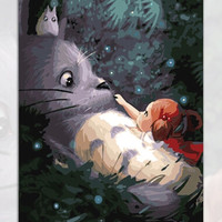 Handmade Frameless Picture Painting By Numbers DIY Digital Oil Paintings On Canvas Home Decoration wall My Neighbor Totoro WQ01