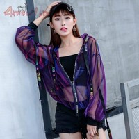 Trendy Winter Jacket Summer Women  Harajuku Sun Protection Clothing Laser Hologram Sunproof See Through Loose Hooded Zipper Coat Sunscreen Oute AT_92_12