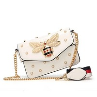 High Quality Designers Handbags Women Bee Pearl Luxury Cross Body Leather Lady Shoulder Bag Chain Purses