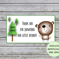 Thank You for Showering Our Little Peanut Bear Baby Shower Tags Baby Shower Favors Tags Printable Thank You Tags Baby Shower for Kids (b1)