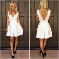 White V Neck Sleeveless Backless Skater Dress