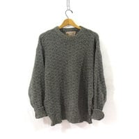 vintage gray sweater. oversized slouchy pullover sweater. men's cotton sweater size XL