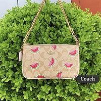 Coach tide brand retro women's fashionable watermelon printed mahjong bag shoulder messenger bag