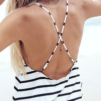 Striped Spaghetti Strap Cross Back Cami Top