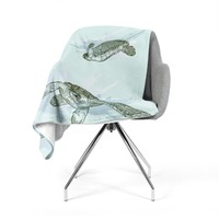 "Sam Posnick ""Sea Turtles"" Green Blue Fleece Throw Blanket"