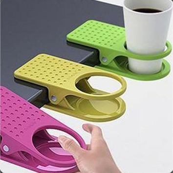 Desk Cup Holder Drink Clip Lap Table Folder Reading Creative Design Table Manager 4 PC