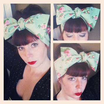 Light Green Floral Headwrap Bandana Hair Big Bow Tie 1940s 1950s Vintage Style