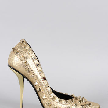 Privileged Metallic Studded Pointy Toe Pump