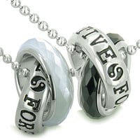 Positive Forever Eternity Love Couple Rings Yin Yang Amulets Simulated Onyx White Cats Eye Necklaces