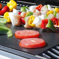 Set of 2PCS BBQ Grill Mat and 1PC BBQ Brush Easy Bake NonStick Grilling Mats Easy Baking Reusable BBQ Grill Mat Nonstick