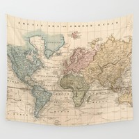 Vintage Map of The World (1823) 2 Wall Tapestry by BravuraMedia