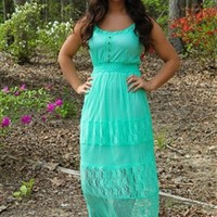 Lucy Lace Dress in Mint
