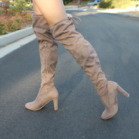 KYLIE - TAUPE Closed Toe Over The Knee Thigh High Chunky Heel Boot
