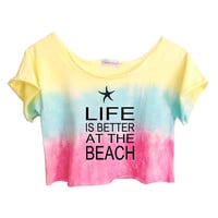 COTTON CANDY Pastels Unique Tie Dye Crop Top Retro Custom Shirt Life is Better At The Beach