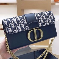 Dior Fashion New More Letter Leather Chain Shoulder Bag Crossbody Bag Black