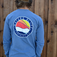 Waters Bluff Horizon Long Sleeve Tee- Blue Jean