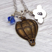 Hot Air Balloon & Cloud Personalized Steampunk Necklace with Hand Stamped Initial