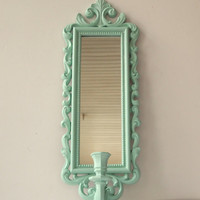 Mirror Candle Wall Sconce Vintage Ornate Syroco Painted Aqua Shabby Chic Cottage Home Wall Decor Paris French