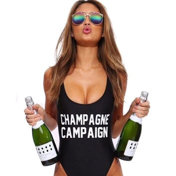 CHAMPAGNE CAMPAIGN  swimsuit bandage One Piece  Bodysuit swimwear