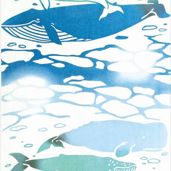Japanese Tenugui Towel Fabric, Hand Dyed Fabric, Pastel Blue Whale Animal Art Design, Cotton 100%, Wall Art Hanging, Gift Wrapping, k010