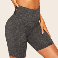 Solid Cross Back Cycling Shorts
