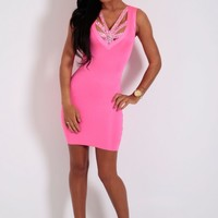 Vivacity Neon Pink Bandage Bodycon Crystallised Mini Dress | Pink Boutique