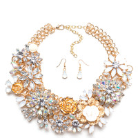 Flower Powerful Bib Necklace Set