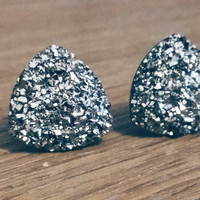 Druzy earrings-  Triangle iridescent Gunmetal druzy earrings