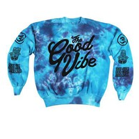 The Good Vibe Blue Tie-dye Crewneck Sleeve Print Jumper | The Good Store