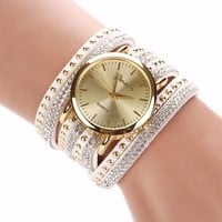 Luxury brand Casual Women's Watches PU Leather Korean Crystal