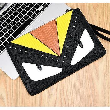 FENDI New Women Makeup Bags Men's Business Bag Classic Leisure  Handbag Clutch Bag Yellow