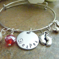 Baby Memorial bracelet Personalized Angel wing Bracelet Infant loss miscarriage Expandable Hand stamped Jewelry