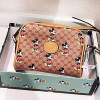 GUCCI x Disney Mickey Mouse New Women Shopping Bag Leather Crossbody Satchel Shoulder Bag
