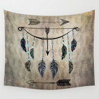 Bow, Arrow, and Feathers Wall Tapestry by Naturessol