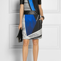 Helmut Lang|Fracture printed crepe de chine and leather dress|NET-A-PORTER.COM