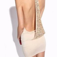 Apricot Backless Sequined Sexy Dress