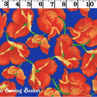 SALE 2.99 PER YARD Red Poppies on Blue Cotton Fabric Print, Flower Garden by Oakhurst Textiles, Quilters Cotton