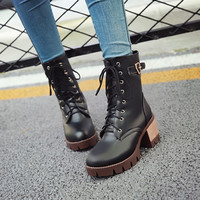 Ankle Boots for Women Thick Heels Motorcycle Boots Belt Buckle Lace Up Autumn Winter Shoes Woman 4711