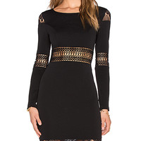 Winter Romance Long Sleeve Dress in Black