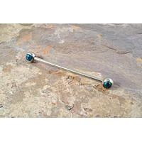 Black Opal Industrial Barbell Piercing Upper Double Ear Piercing 14 Gauge