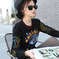Korean big eyes embroidered sweater - from excellent mushroom Street shop