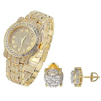 Hip Hop Fully  Yellow Gold Finish Men's Techno Pave Watch & Solitaire Earrings Combo