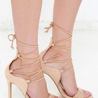 Secret Keeper Beige Suede Lace-Up Heels