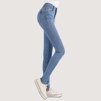 Fashion Brand Women Skinny Pencil Jeans Denim Elastic High Waist Pants