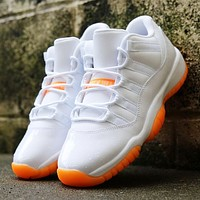 Air Jordan 11 Classic Women Men Casual Sneakers Sport Basketball Shoes White&Orange