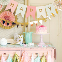 Letter Banner | Wedding Garland | Pennant Banner | Gold Foil | Personalized Banner | Birthday Party Banner | Baby Shower Bunting